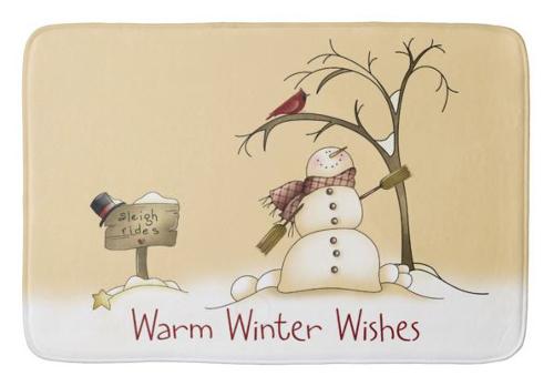 primitive folk snow man bath rug mat design sleigh rides