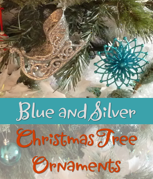 Blue silver christmas tree hanging festive holiday ornaments