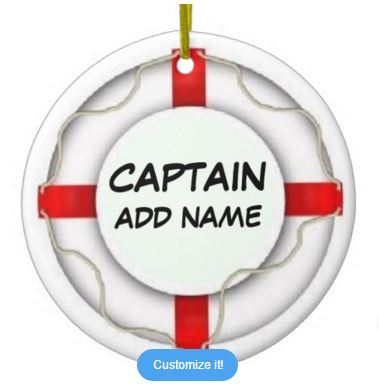 Custom personal name text ceramic captain style round ornament