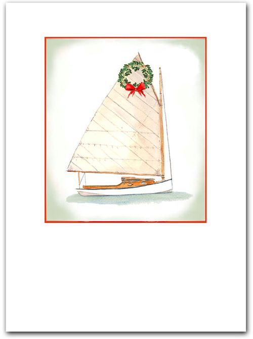 Warm wishes for the holiday season cat boat watercolor painting cards