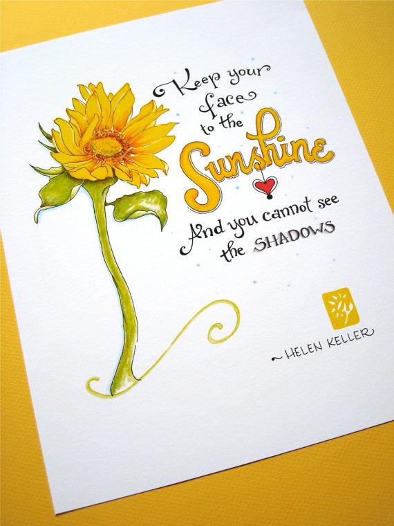 Be Happy Quote Print. Inspirational Art Print. Sunflower Sunshine. Yellow Wall Decor