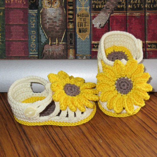 crocheted baby sunflower shoes sandals