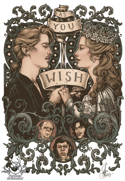PRINCESS BRIDE PRINT 8x11 A4 Color hand signed High Quality 350g matte couche paper Princess Buttercup and Westley by Medusa Dollmaker