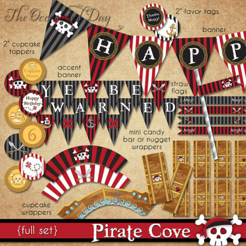 Pirate Cove FULL Set Birthday PRINTABLE by The Occasional Day
