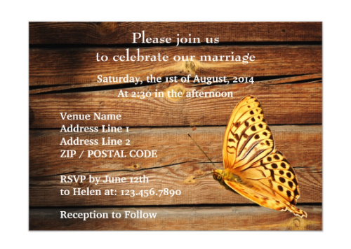 Back of the Invitation Design with the Golden Color Butterfly and Rustic Wood