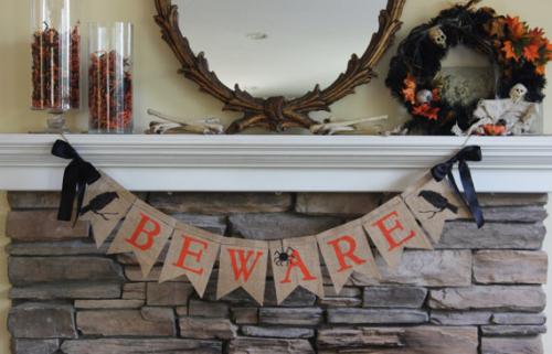 BEWARE halloween burlap banner decoration FALL decor
