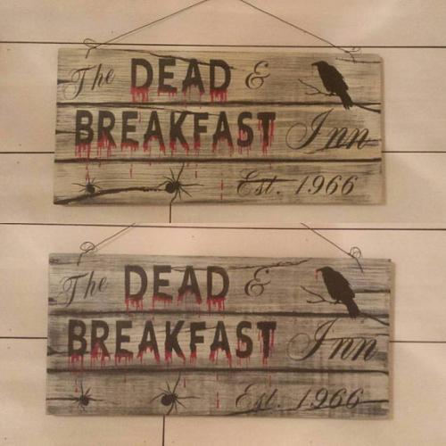 The DEAD & BREAKFAST Inn Est 1966 Sign Black Crow Hand Painted Spooky Halloween Porch Decor