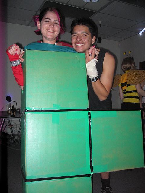 Green Tetris Game Block Costume Halloween Fancy Dress Party