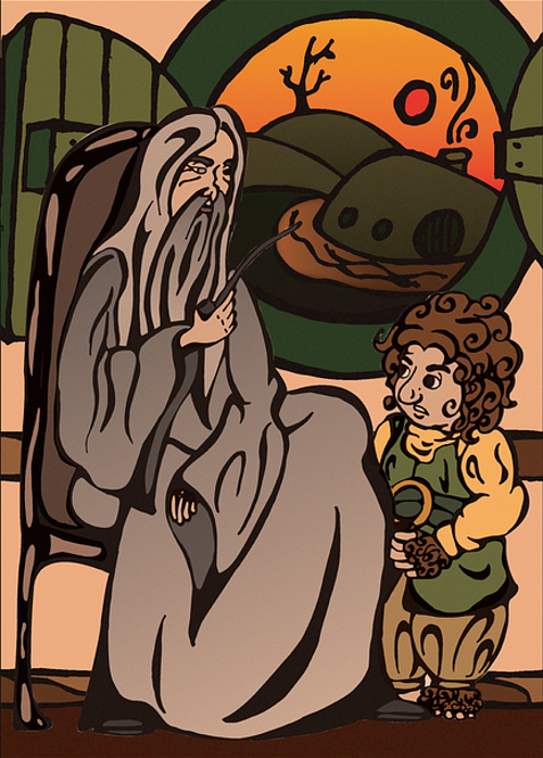 Bilbo shown with Gandalf the wizard in his Hobbit home of Bag End.