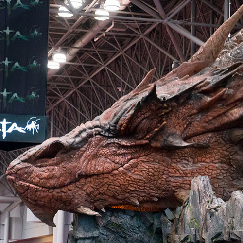 Weta model of Smaug the Hobbit dragon, sleeping.