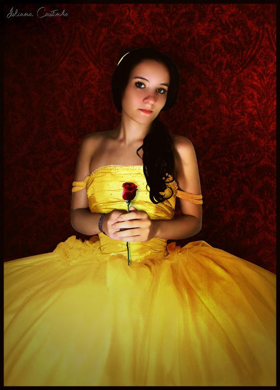Belle costume from Beauty and the Beast Yellow Gown Dress with red rose