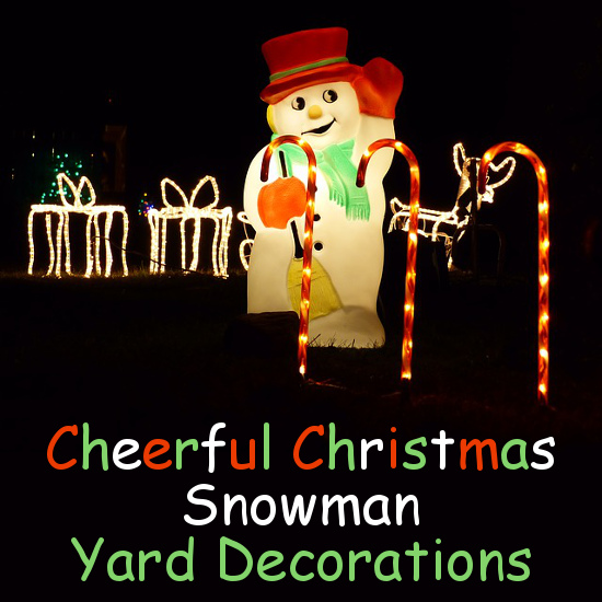 Lit up outdoor snowman decoration at night time with candy canes and gifts