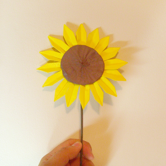 origami paper folded sunflower craft project flower design