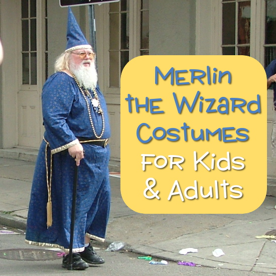 Merlin the wizard blue costume with pointed hat, long robes and gold color accessories