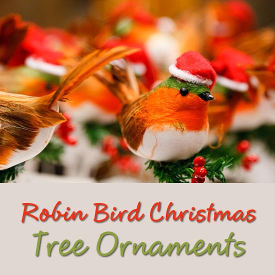 European English red robin bird Christmas tree festive decorations