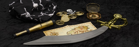Pirate accessories treasure map coins cutlass toy