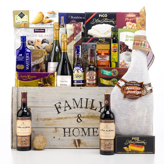 family hamper basket for Christmas chocolate wine cookies treats