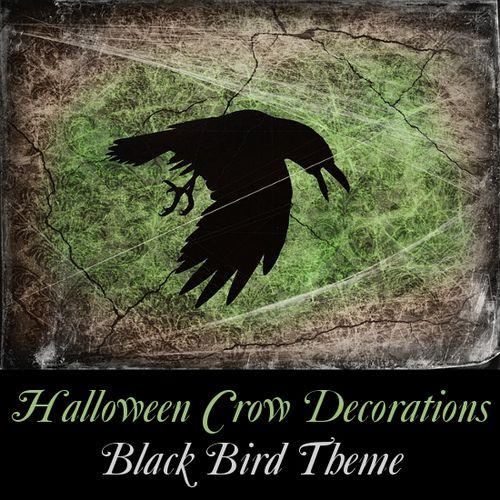 Room decor with black birds ravens crows decorations