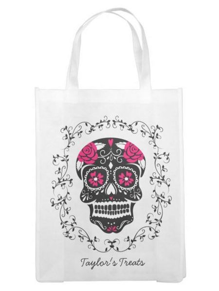 decorative sugar skull design in black and pink on a bag from zazzle