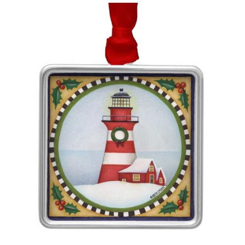 lighthouse art work by beth logan festive holly nautical