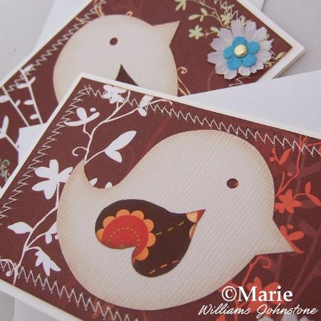 Handmade greeting card bird