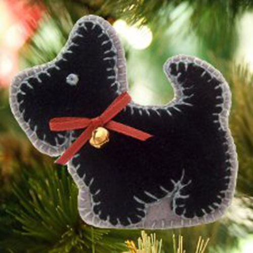 Sweet Scottie Dog Christmas Tree Ornaments