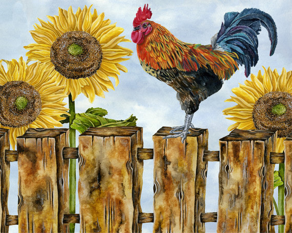 country style rooster farm barn sunflowers art