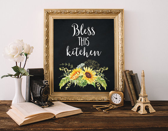 Quote Print 8x10 Instant Bless This Kitchen Inspirational Cottage Chic Decor Country Sunflower Wall Art