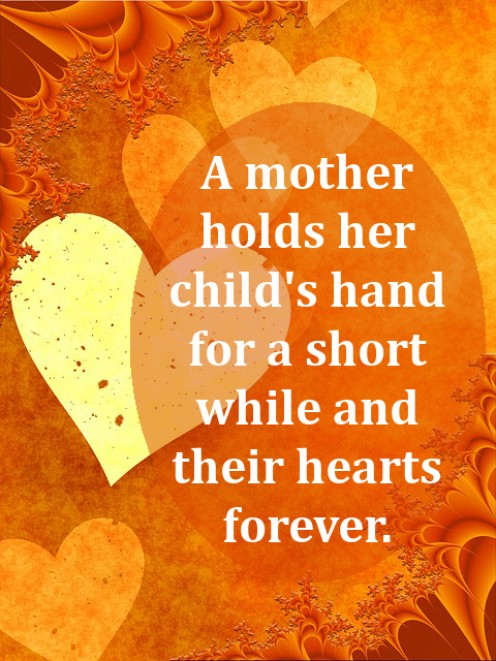 A mother holds quote