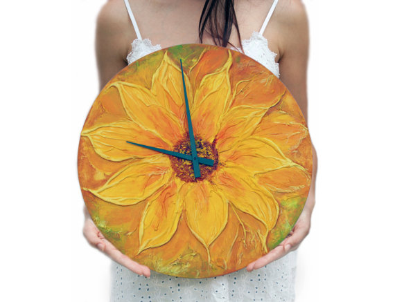 Original Painting Large WALL CLOCK SUNFLOWER Unique Modern Design Painting  Orange Yellow Kitchen Home Decor