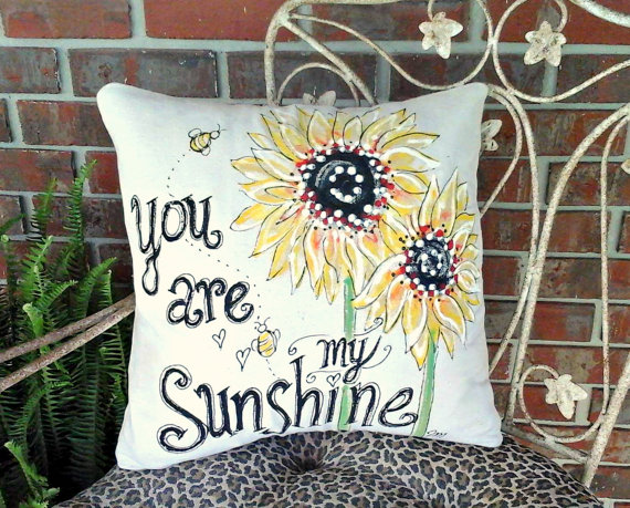 You are My Sunshine Sunflowers Spring and Summer Flower Hand-painted Pillow Cover