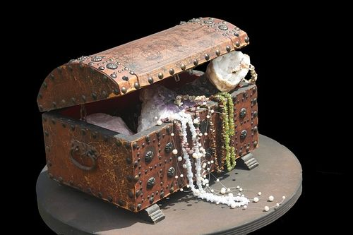 Pirate treasure chest filled with jewels