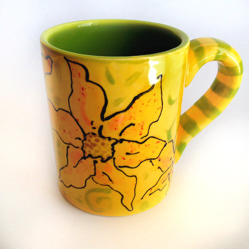 Happy Sunflower Mug hand painted