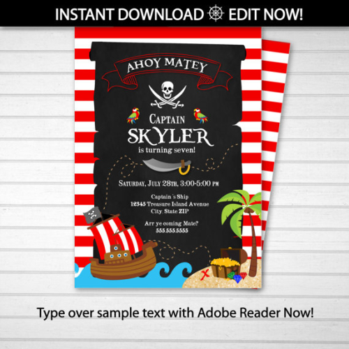 Pirate Invitation Party Invites INSTANT DOWNLOAD Edit NOW with Adobe Reader from home