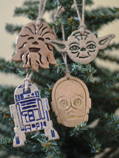 Star Wars Ornaments Set of 4 including Yoda C3PO R2D2 and Chewy Available as a Set or Individual Ornaments Handmade Ceramic READY TO SHIP