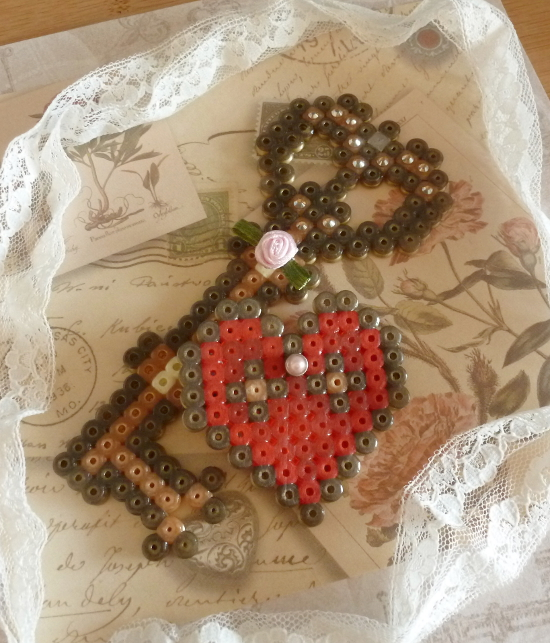 Key to my heart perler hama beads design romantic gift ideas him