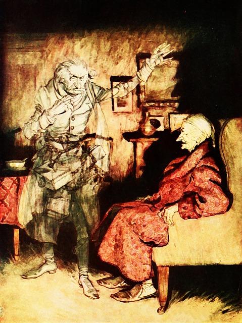 arthur rackham illustration of ebenezer scrooge and jacob marley