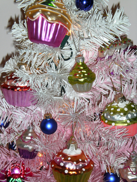 cupcake ornaments on a Christmas tree