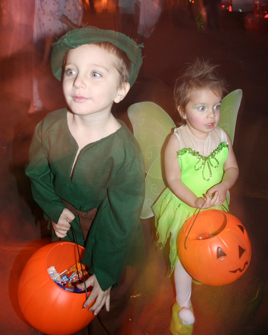 Kids trick-or-treating in Robin Hood and Tinkerbell fairy costumes.  sc 1 st  HalloweenAngel & Infant and Baby Girl Tinkerbell Costume