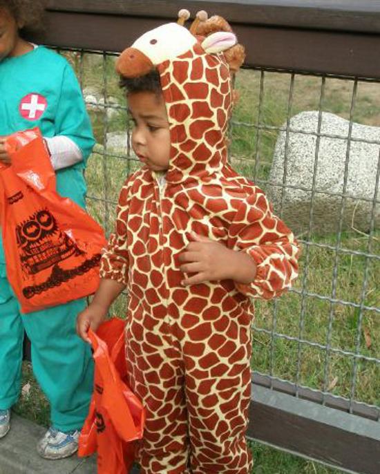 boy wearing giraffe costume suit