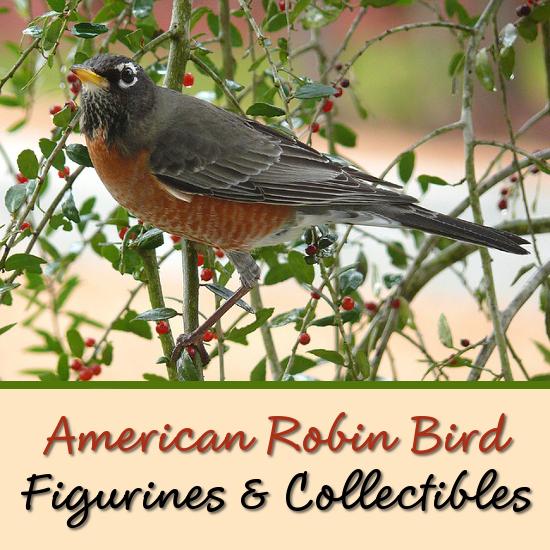 American Robin bird figurines porcelain ceramic
