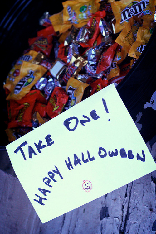 Candy left out on porch for Halloween night