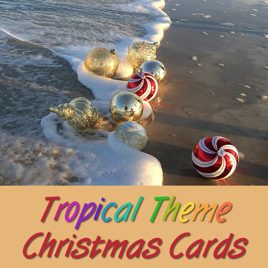 tropical beach scene with shells and Christmas ornaments festive seasonal Holiday card