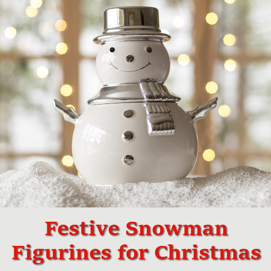 Snowman figure ceramic Christmas display