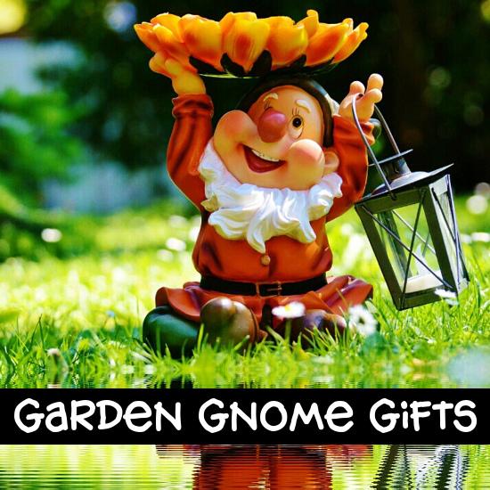 Garden gnome outdoors holding lantern