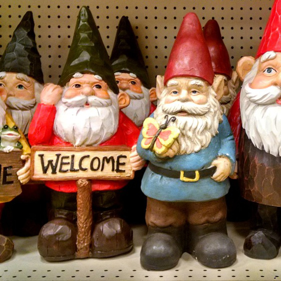 Gnomes figures figurines statues welcome sign