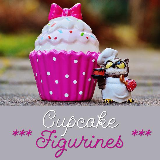 pink and white cupcake figurine glossy ceramic item