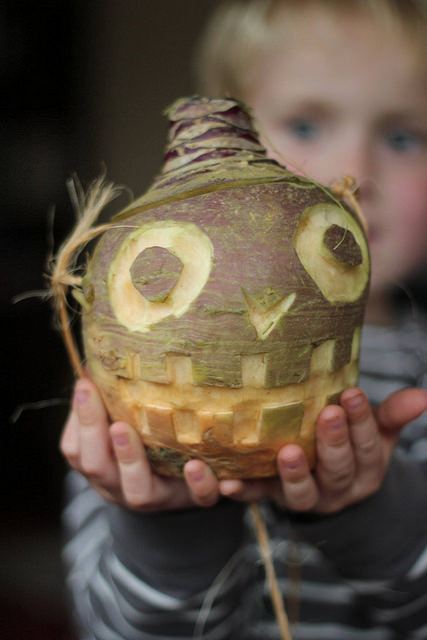 carved turnip with scary face Hop tun Naa
