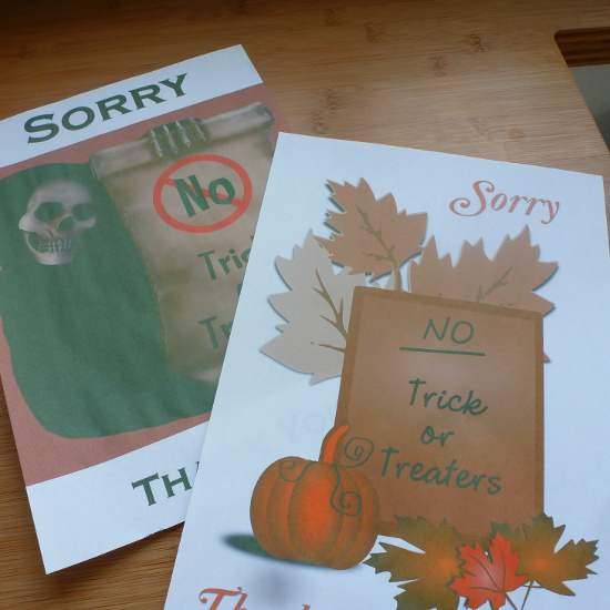 free no trick or treating posters prints