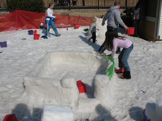 making a snow fort building